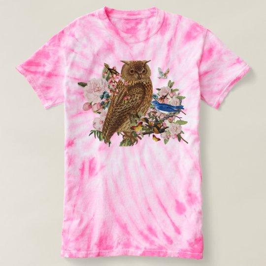 Camiseta animal de TieDye del alcohol del búho