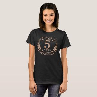 Camiseta Aniversario de boda de madera 5 años
