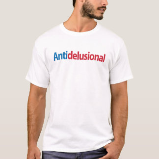 "Camiseta ""Anti-delusional"" azul y roja"