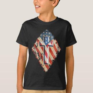 Camiseta Apariencia vintage cristiana de la cruz de la fe