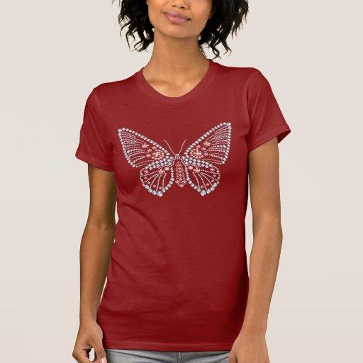 Camiseta Appliqued mariposa del diamante artificia