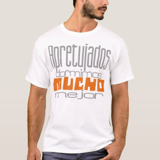 Camiseta Apretujados dormimos mucho mejor gris&naranja