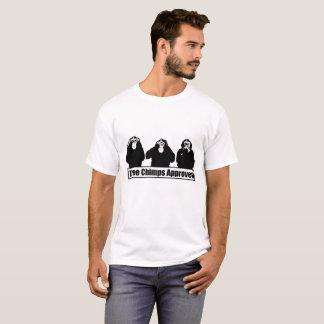 Camiseta aprobada tres chimpancés de la impresión