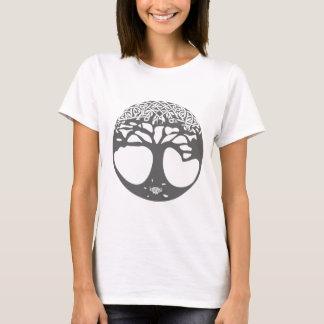 Camiseta Árbol de la vida céltico gris con las hojas