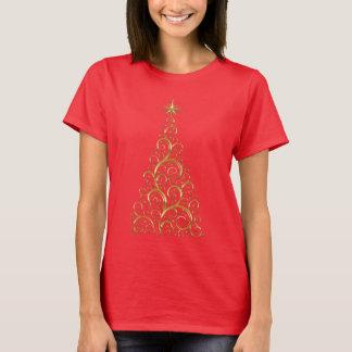 Camiseta Árbol de navidad festivo del oro del Flourish