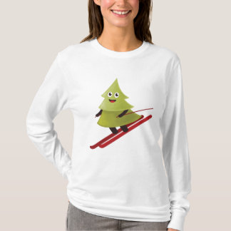 Camiseta Árbol de pino feliz del invierno en el esquí