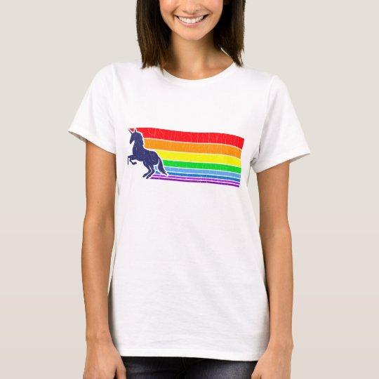 Camiseta arco iris del unicornio del vintage de los años 80