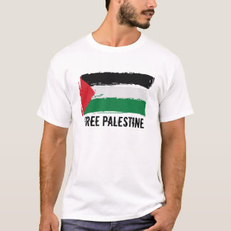 Camiseta Arte del cepillo de la bandera de Palestina -
