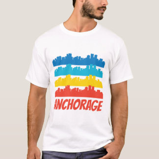Camiseta Arte pop retro del horizonte de Anchorage AK