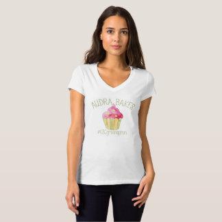 Camiseta Audra con cuello de pico de las mujeres cuece la