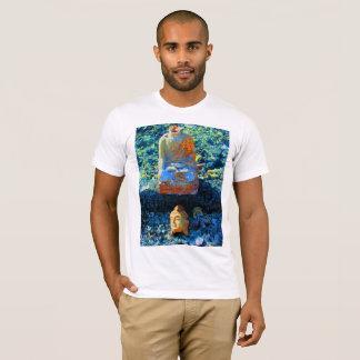 Camiseta azul brillante del gráfico de Buda