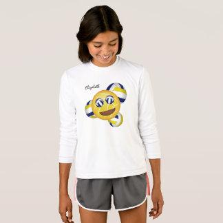 Camiseta azul del amarillo del emoji del voleibol de los