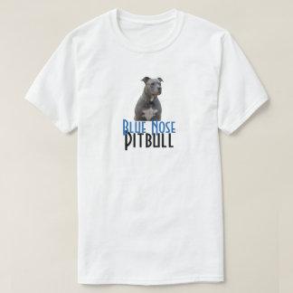 Camiseta azul del blanco de Pitbull de la nariz