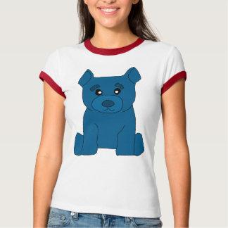 Camiseta azul del campanero de las mujeres del oso