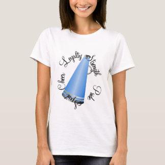 Camiseta azul del megáfono de la animadora