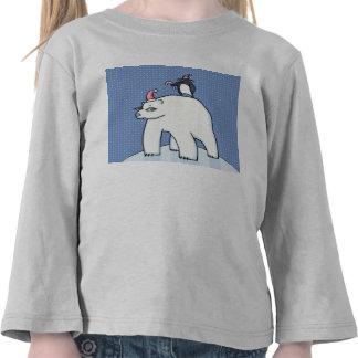 Camiseta azul del niño del navidad del oso polar