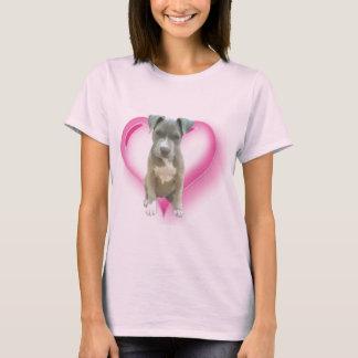Camiseta azul del perrito del pitbull