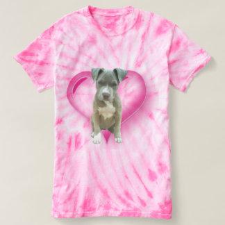 Camiseta azul del perrito del pitbull del teñido