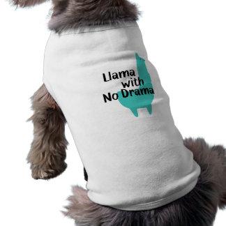 Camiseta azul del perro de la llama camiseta sin mangas para perro