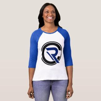 Camiseta azul del raglán de la manga de las