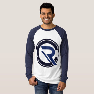 Camiseta azul del raglán de la manga larga de los