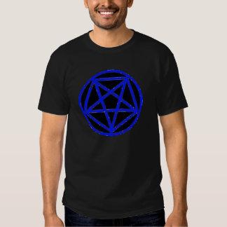 Camiseta azul satánica del símbolo de la estrella