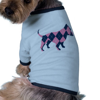 Camiseta azul y rosada del perro de Argyle Pitbull Ropa Perro