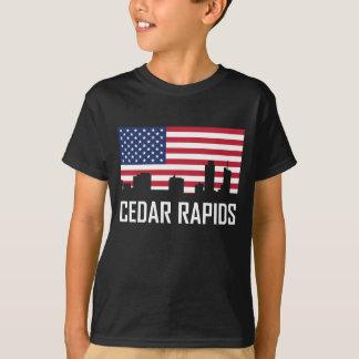 Camiseta Bandera americana del horizonte de Cedar Rapids