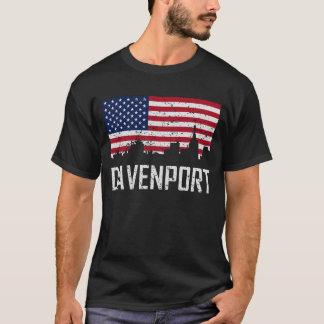 Camiseta Bandera americana del horizonte de Davenport Iowa