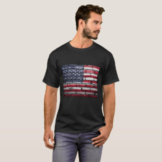 Camiseta Bandera americana, ladrillo texturizado.  -