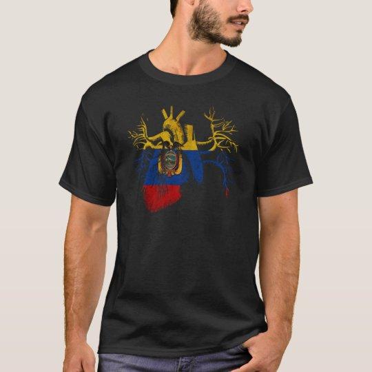 Camiseta Bandera de Ecuador en corazón real