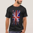 Camiseta Bandera de Union Jack de la pintura de la peladura