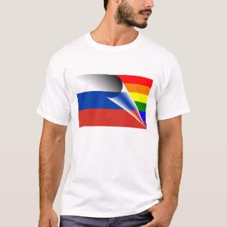 Camiseta Bandera del arco iris del orgullo gay de Rusia