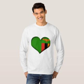 Camiseta Bandera del corazón de Zambia