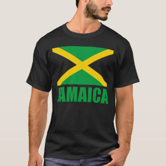 Camiseta Bandera del negro verde del texto de Jamaica
