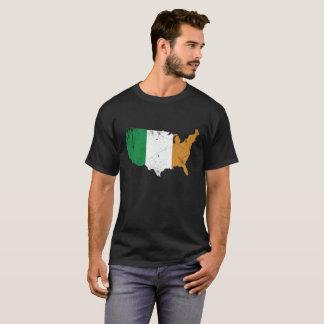 Camiseta Bandera irlandesa sobre los E.E.U.U.