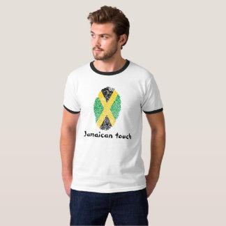 Camiseta Bandera jamaicana de la huella dactilar del tacto