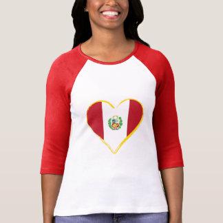 Camiseta Bandera peruana de la forma del corazón con el