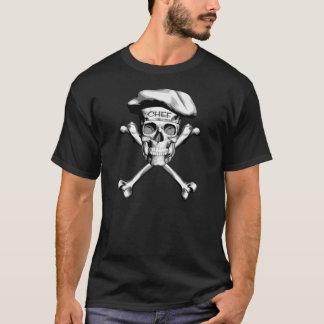 Camiseta Bandera pirata del cráneo del cocinero: Blanco