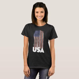 Camiseta Bandera W del Grunge de los E.E.U.U.