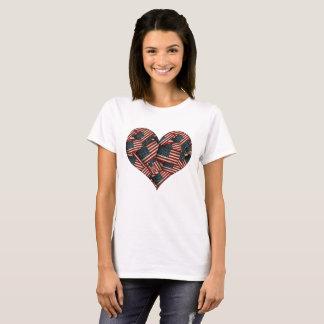 Camiseta Banderas americanas apenadas en forma de corazón