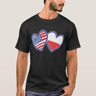 Camiseta Banderas del corazón de los E.E.U.U. Polonia