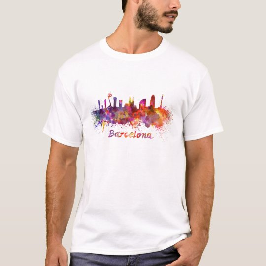 Camiseta Barcelona skyline in watercolor