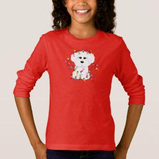 Camiseta Bichon Frise con las luces de navidad