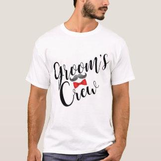 Camiseta Bigote del equipo del novio y pajarita