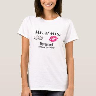 Camiseta Bigote y labios Sr. y señora Anniversary