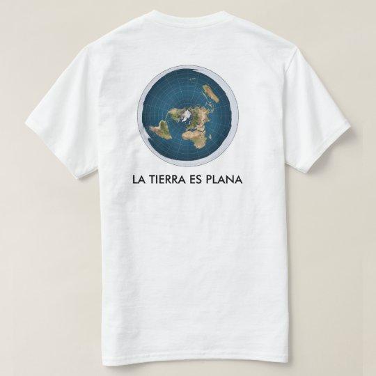 camiseta blanca mapa tierra plana
