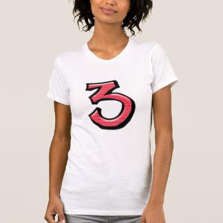 Camiseta blanca roja de las señoras de los números