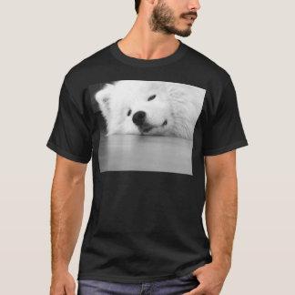 Camiseta Blanco del perro de la foto del samoyedo