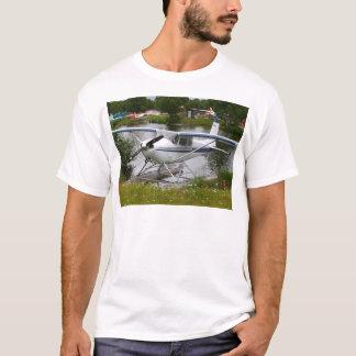 Camiseta Blanco, marina de guerra y avión gris del